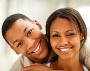 Closeup portrait of a romantic happy young African American couple